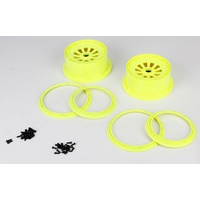 Losi Wheel & Beadlock Set (Fluoro Yellow)